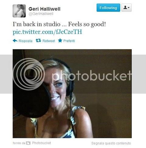 geri halliwell è tornata in studio e posta la foto su twitter