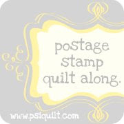 postage stamp quilt along button.