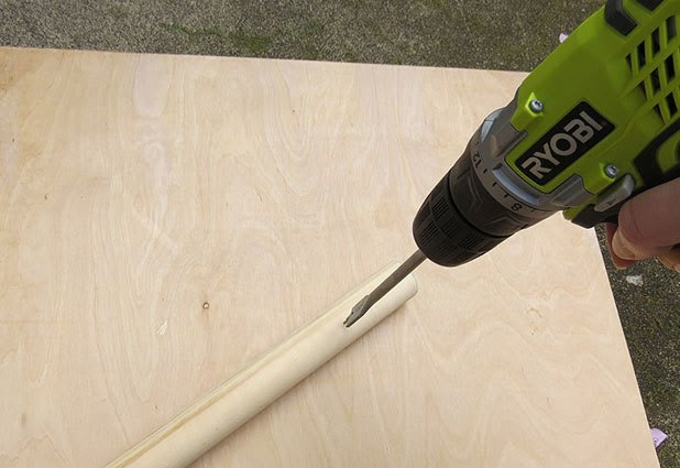 Drill holes in dowels using a spade bit or dowel jig.