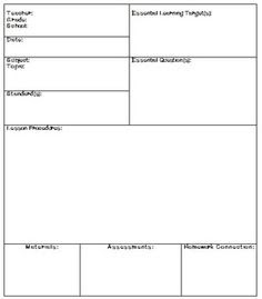 Lesson & Unit Plan Templates for Middle or High School | School ...