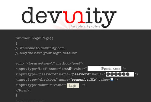 Devunity login