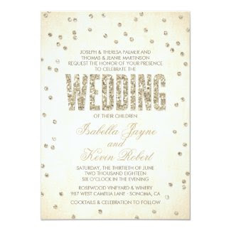 Glitter Look Confetti Wedding Invitation