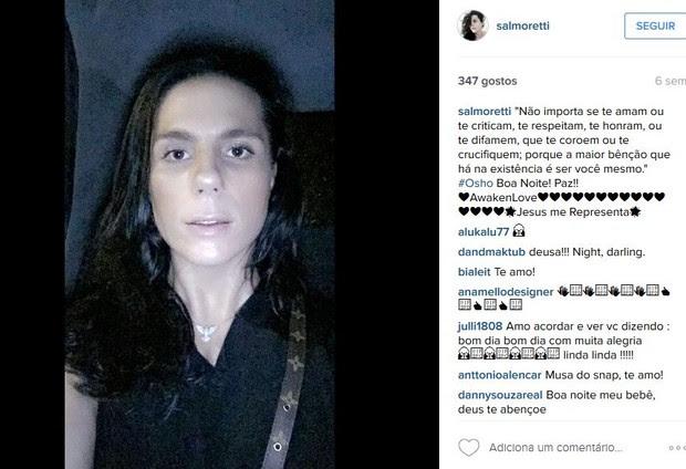Mensagens de Sal Moretti nas redes sociais (Foto: reprodução/instagram)