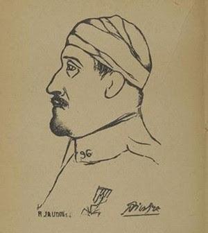 Pablo Picasso, Portrait de Guillaume Apollinaire illustrant l'ouvrage Calligrammes, 1916, Paris, musée Picasso