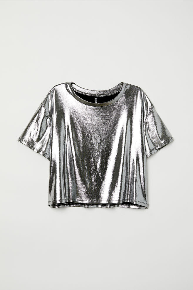 Shimmering metallic top - Silver-coloured - Ladies | H&M GB 4