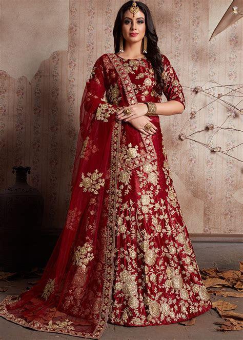 Maroon Embroidered Velvet Bridal Lehenga Choli Latest 1822LG02