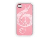 Pink Music iPhone Case, Pink Peace Case, Music Notes, Pastels, Pink, Music, Peace Sign, Glee, Choir, Band, Rock, Pop, iPhone 5, iPhone 4S/4 - Inspireuart