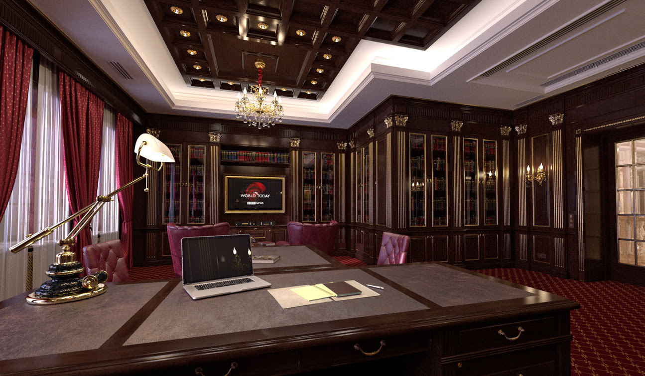 Indesignclub Study Room With Home Library Interior In Classic Style