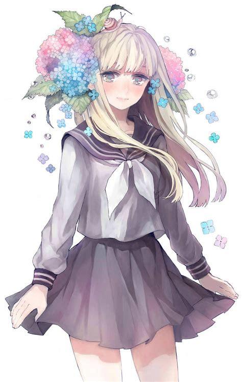 animeartbeautiful picturesgirlflowersschool uniformsnail