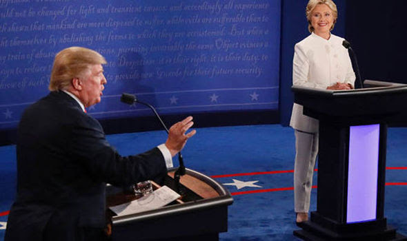 Donald Trump and Hilary Clinton during a debate