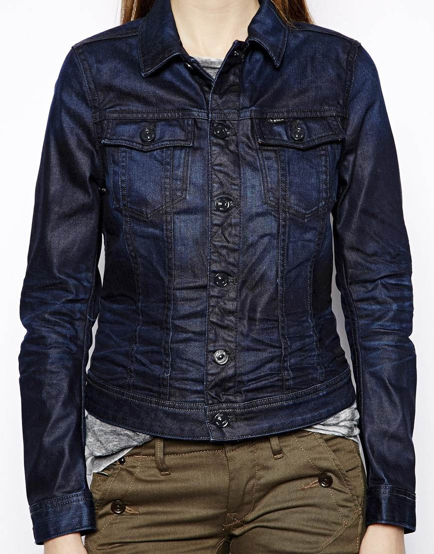 gstar raw denim jacket in blue darkblue  lyst