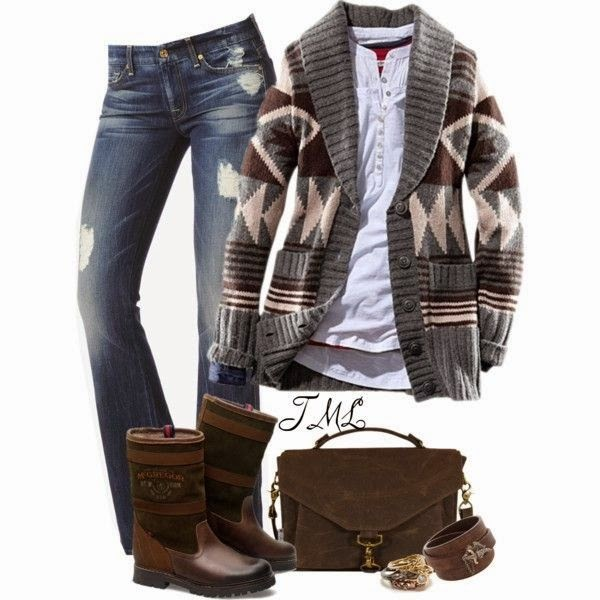 229 Fall Outfit With Aztec Cardigan And Shirt Fashion