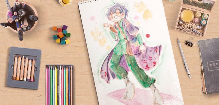 水彩イラストを水彩絵具ではなく水彩色鉛筆で塗ってみた Crepo