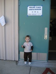 Thomas at the polling place