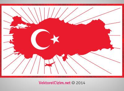 Vektörel çizim Ay Yıldız Türkiye Haritası