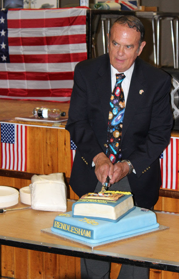 Charles Halt cuts a cake to mark 35-year anniversary of the sightings