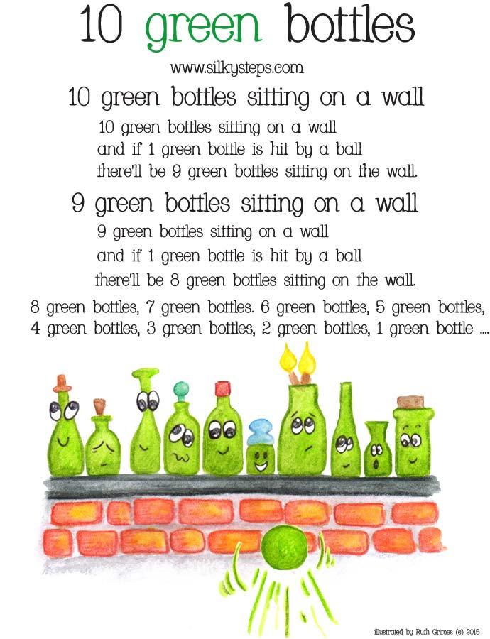 10 Green Bottles Song Sheet Rhyme Lyrics