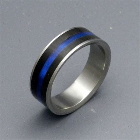 Fiances Wedding Band. Police Thin Blue Line.   Wedding