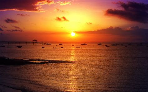 wallpaper sunset seascape beach fishing boats salvador