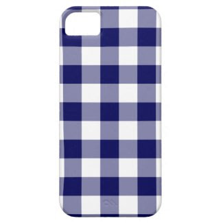 Navy and White Gingham Pattern iPhone 5 Cases