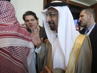 Saudi Oil Minister Khalid al-Fali after the opening of the Atlantic Council Global Energy Forum in Abu Dhabi earlier in this month. Picture: AP.