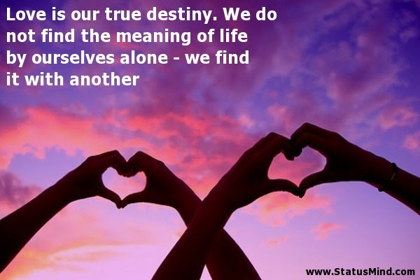 Love Is Our True Destiny We Do Not Find The Statusmindcom