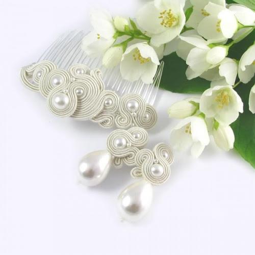 Komplet ślubny sutasz z perłami