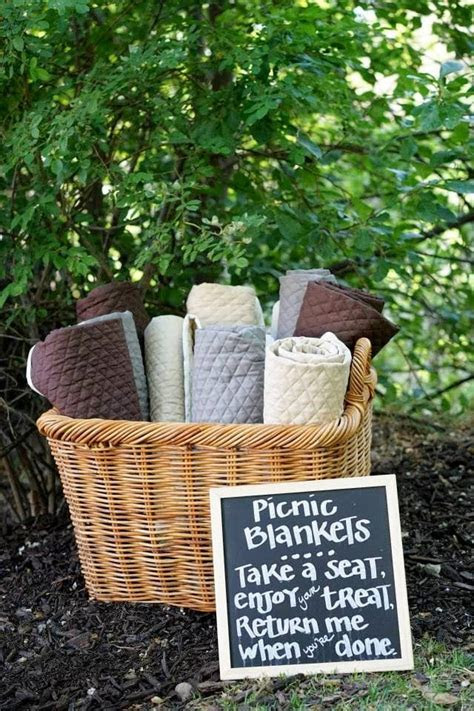 Picnic blankets. Extra wedding seating. Picnic sign