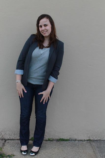 Sweatshirt/blazer outfit: Gap jeans, Gap short-sleeve sweatshirt, Topshop silver toe-capped flats, blazer, silver beaded necklace