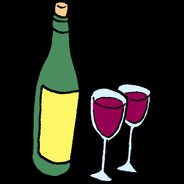 ワインのイラスト かわいいフリー素材が無料のイラストレイン