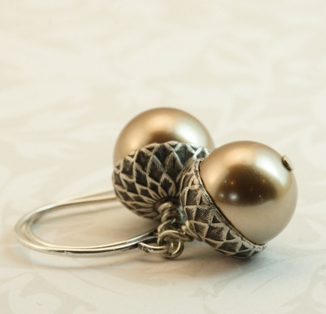 Free Shipping -  Acorn Earrings - Golden Brown and Antique Silver