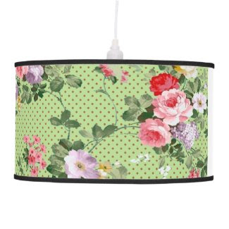 beautiful vintage floral flowers polka-dot pattern table lamp