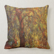 Weeping Willow by Claude Monet throwpillow