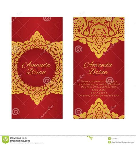 Two Greeting Cards In East Style On Red Background Stock