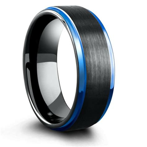 mm blue black mens tungsten wedding band  step
