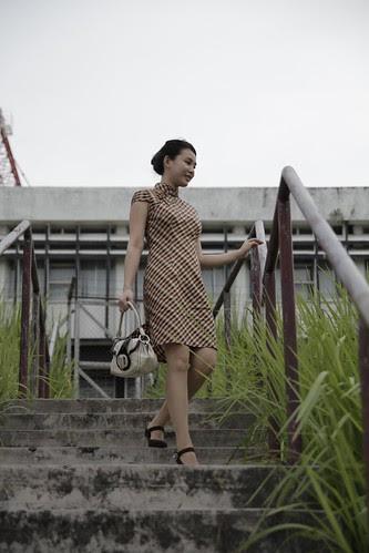 Moon Lai descending the steps