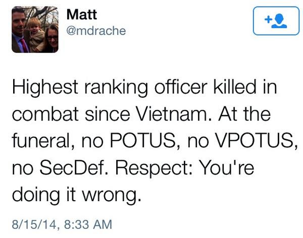 The 'Commander-in-Chief' had a lot to say about Ferguson but not a word about his two star general slain in Afghanistan