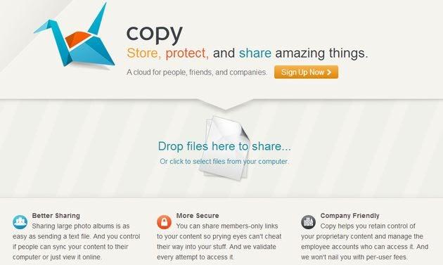 Copy, 5 GB o más de almacenamiento gratuito en la nube