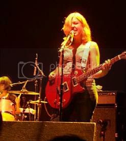 Sleater Kinney's Carrie Brownstein and Janet Weiss[Corin Tucker out of frame] @ The Phoenix: photo by Mike Ligon