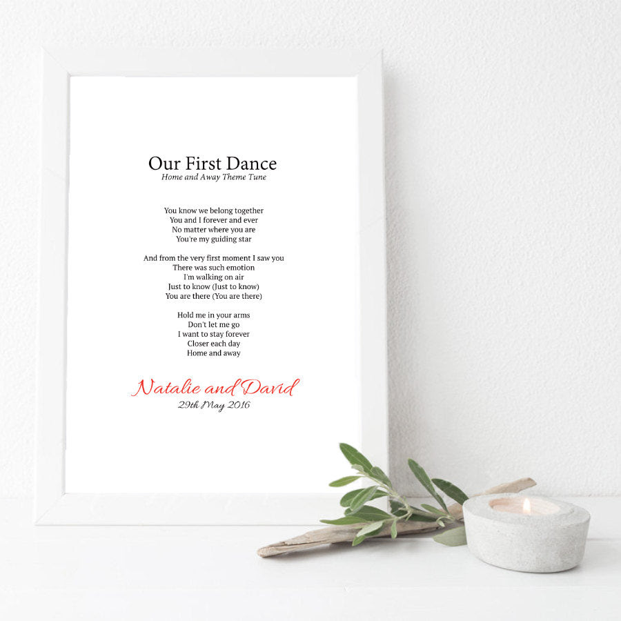 Personalised First Dance Wedding Song Lyrics Print Not Your