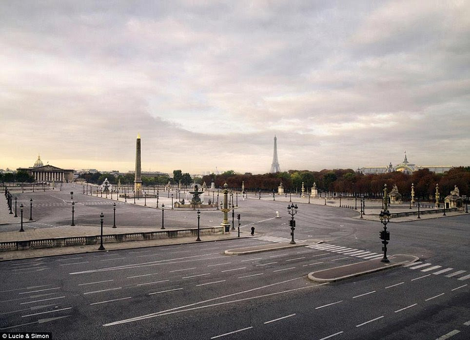 Desolate: Paris' Place de la Concorde is shown without vehicles or people as the Eiffel Tower rises in the background