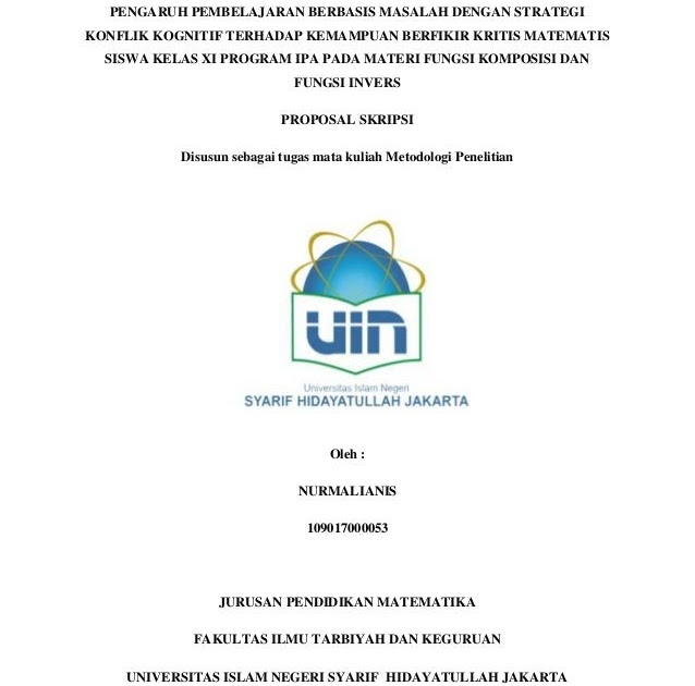 Contoh Cover Proposal Skripsi Uin Jakarta Ide Judul Skripsi Universitas