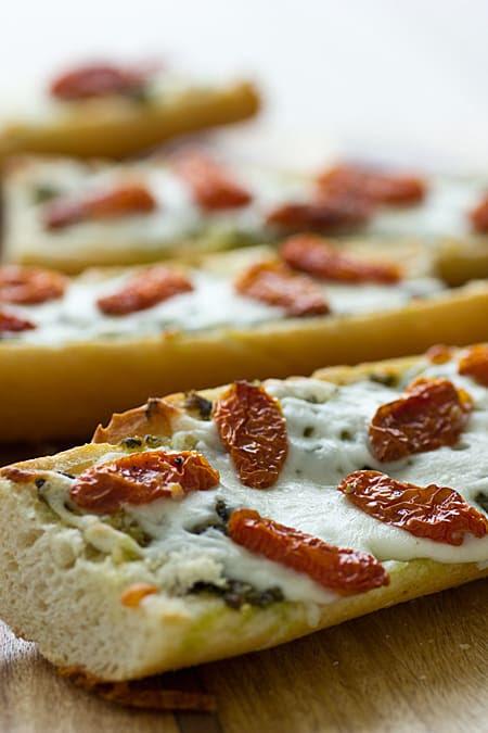 French Bread Pizza with Pesto & Sun-Dried Tomatoes Recipe