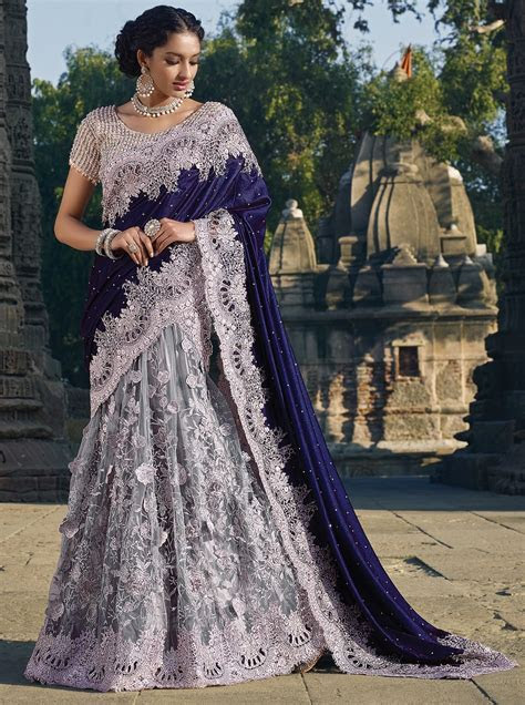 Designer Saris online shopping in USA UK Canada Buy Grey