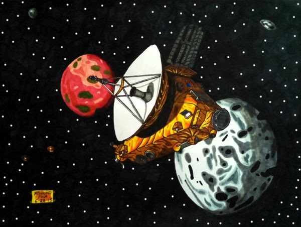 A drawing I made of NASA's New Horizons spacecraft exploring the dwarf planet Pluto and its five moons.
