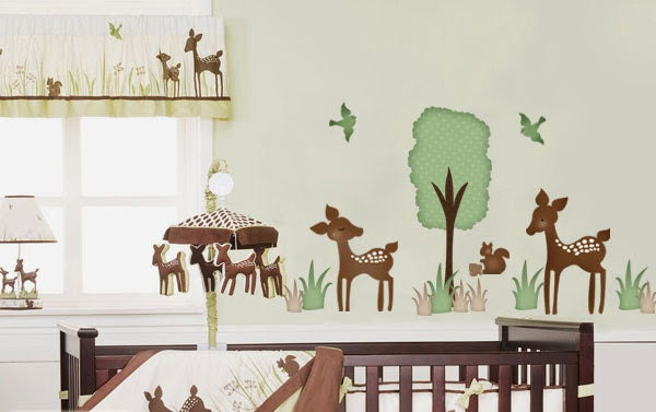 Willow Deer Forest Friends Fabric Wall Decal Sticker - not vinyl - ToodlesDecalStudio