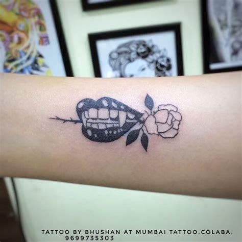 vampire lips rose wrist tattoo mumbai