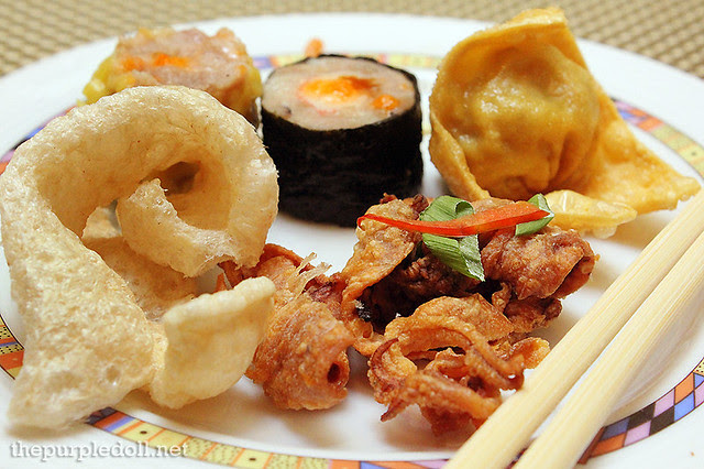 Fish Crackers, Fried Squid, Siomai and Dumpling