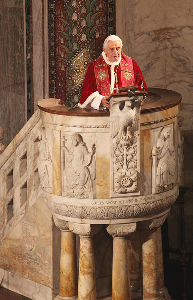 Pope Benedict XVI holds the homily during his visit to the Lutheran Church of Rome on March 14, 2010 in Vatican City, Vatican. Benedict spoke about the relationships between the different Christian churches.