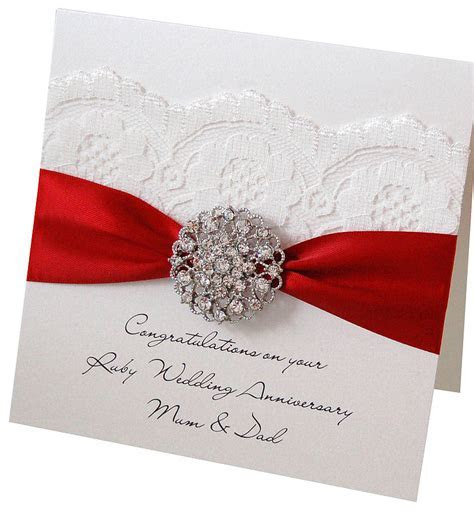 Opulence Wedding Anniversary Card   Anniversary   Ruby